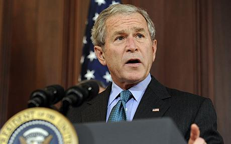 George Bush...President Bush speaks before signing the Andean Trade Preference Act Extension in the Eisenhower Executive Office Building in Washington, Thursday, Oct. 16, 2008. (AP Photo/Susan Walsh)