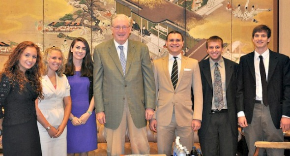 Jay Rockefeller of West Virginia, shown with his interns in July 2012, is one of the few senators who pays his interns -- at least in the summer. (Flickr)