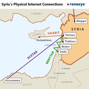 The red line from Aleppo goes to Turk Telekom, whose Syrian service is currently disrupted. (Renesys)