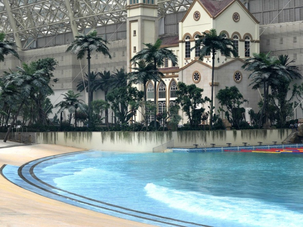 "A water park is seen in the ""New Century Global Centre"" building in Chengdu, southwest China's Sichuan province.  AFP/Getty Images"