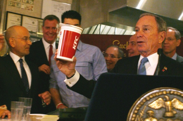Mayor Bloomberg discusses sugary drinks at a 2012 press conference.
