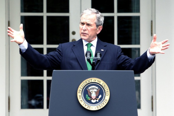 President Bush speaks during a news conference in the Rose Garden of the White House in Washington, Tuesday, April 29, 2008. (AP Photo/Ron Edmonds)