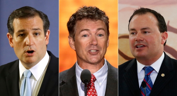 The poll offers validation for this trio of libertarian-leaning Republican senators. | AP Photos  Read more: http://www.politico.com/story/2013/09/poll-republicans-libertarian-96576.html#ixzz2ebzKgiOL