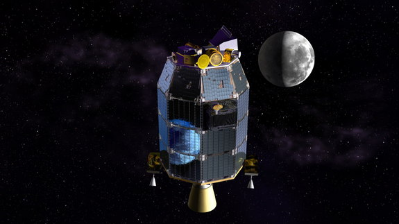 This is an artist's depiction of NASA's Lunar Atmosphere and Dust Environment Explorer (LADEE) observatory in space with the moon in the distance. Image released July 23, 2013. Credit: NASA Ames/Dana Berry