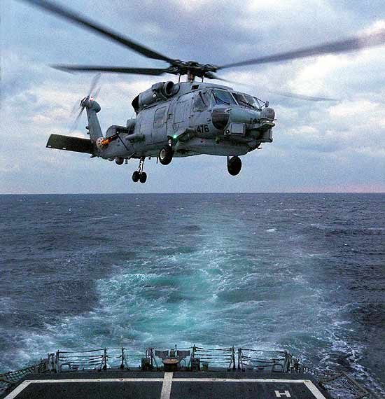 The SH-60B Seahawk. The MH-60S has the Seahawk's automatic rotor blade folding system and rapid folding tail pylon for shipborne operations.