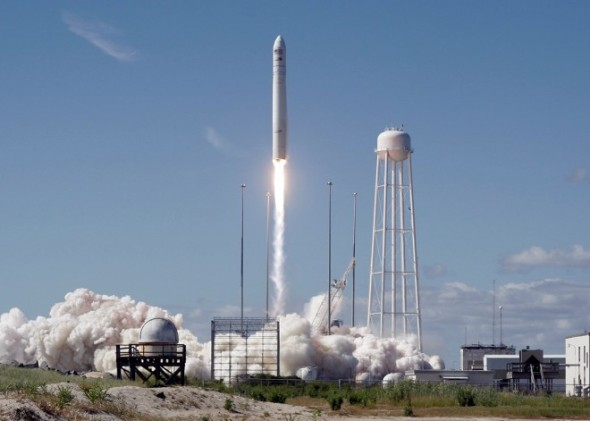 Orbital Sciences will once again attempt to rendezvous with the International Space Station when it launches the Cynus spacecraft aboard its Antares rocket, shown here in a file photo of an earlier launch. Photo courtesy Orbital Sciences
