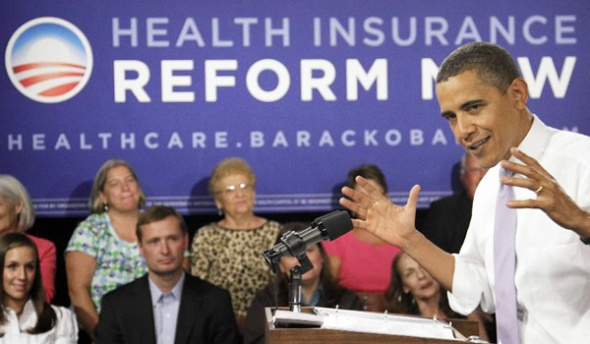 President Obama campaigning for health-care reform.