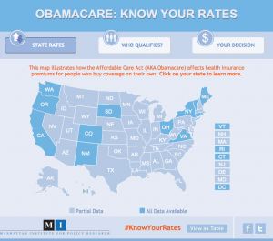 The Obamacare Rate Map, an interactive tool for learning about health insurance prices under the Affordable Care Act, was produced by the Manhattan Institute. Click on the graphic to visit the map.