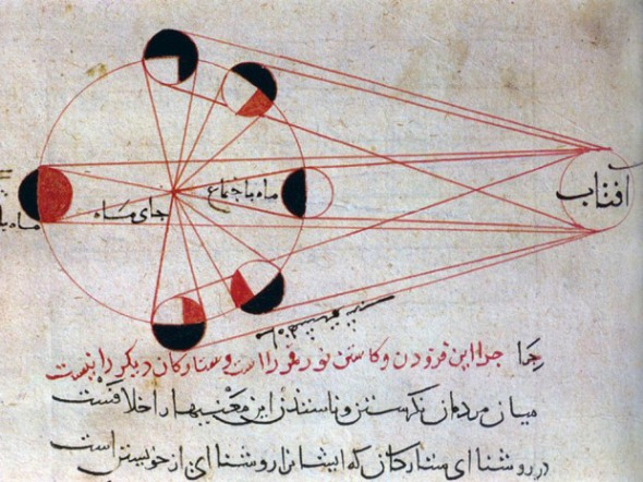 llustration by Persian scholar Al-Biruni (973-1048) of different phases of the moon, from his masterpiece Kitab al-Tafhim. Wikimedia Commons
