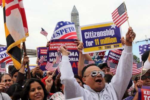 Thousands of immigrants marched on the US capital Washington to demand immigration reform on October 8, 2013. (Anadolu Agency/Getty)
