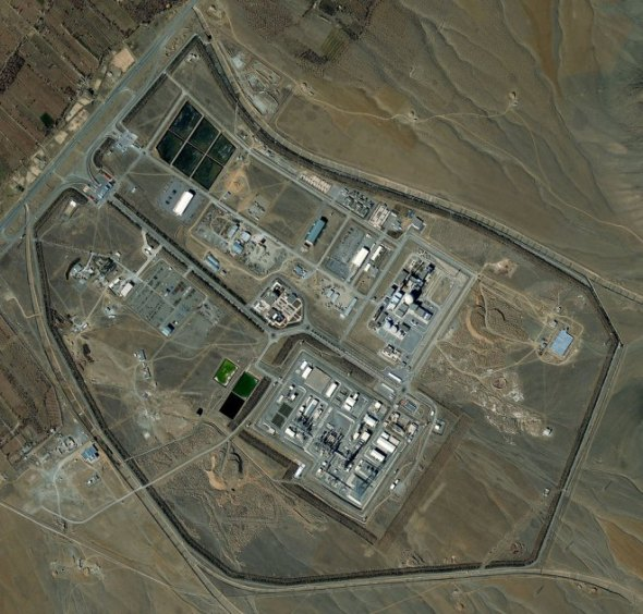 Satellite image of the Arak Nuclear Reactor in Iran collected on Feb. 9, 2013. DigitalGlobe / Getty Images
