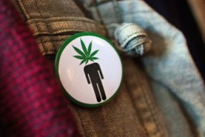 "Frank Nuccio wears a ""pothead"" button on his jacket while attending a cannabis cooking class in Denver, Colorado, on Thursday, April 18, 2013. (Werner R. Slocum/MCT)"