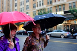 ARLINGTON, VA - JULY 31: Diana Sun Solymossy and her husband Robert walk around the Clarendon neighborhood in Arlington, VA, on July 31, 2013. The Solymossy's are part of a trend of baby boomers and empty nesters who are moving from the suburbs of Virginia and Maryland into more urban settings. The couple go out to eat in their neighborhood at least once a week, and appreciate the convenience of the neighborhood. (Photo by Maddie Meyer/The Washington Post via Getty Images)