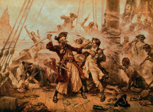 Capture of the Pirate, Blackbeard, 1718 Jean Leon Gerome Ferris