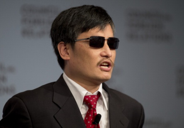 Chinese dissident Chen Guangcheng speaks at the Council on Foreign Relations on May 31, 2012 in New York.  AFP PHOTO/DON EMMERT        (Photo credit should read DON EMMERT/AFP/GettyImages)