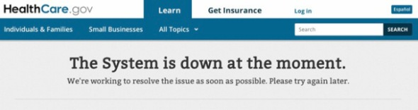 A screenshot of the HealthCare.gov website, which has experienced numerous glitches since it was launched Oct. 1.