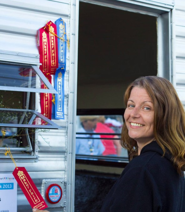 New York-based artist Kim Holleman exhibited her piece titled Trailer Park, a public park housed inside a trailer, at World Maker Faire New York this year, receiving six editor's choice and education ribbons.