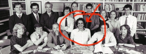 Charles Krauthammer with his comrades at the New Republic when he was a romantic young idealist. Seated to his left is the still unreformed Michael Kinsley