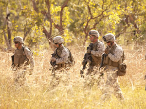U.S. Marines participate in combat marksmanship training at the Australian Defence Force's Kangaroo Flats training area south of Darwin. Glenn Campbell/The Sydney Morning Herald via Getty Images
