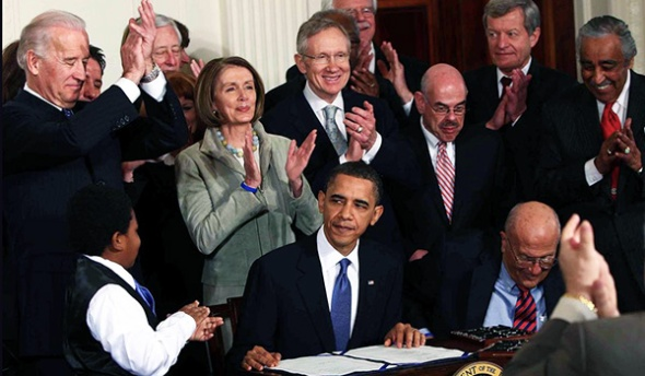 Signing the Affordable Care Act into law, March, 2010.