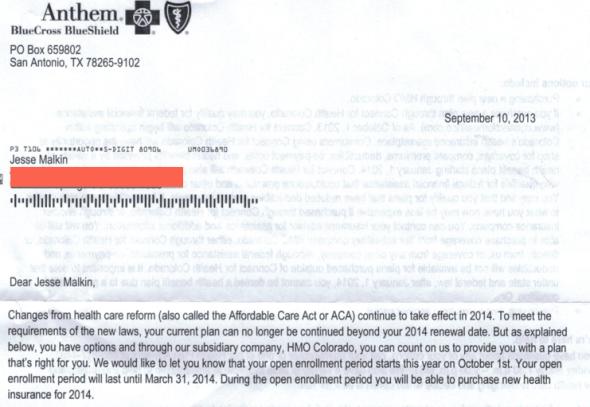 health insurance termination letter