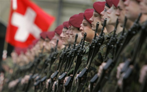 The current number of recruits in the Swiss army stands at around 155, 000 — the biggest army in Europe relative to population size. Photo: AFP/GETTY