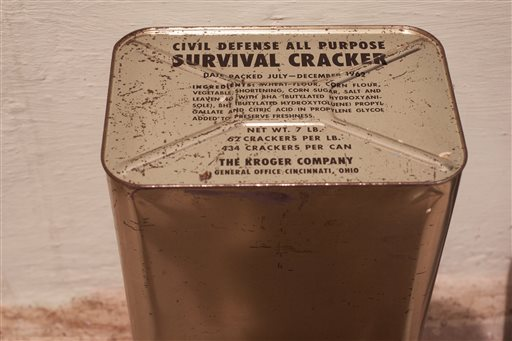 a large tin can of crackers was found in a 1960's era bomb shelter found in the back yard of Craig Denham's back yard in West Lake Hills, Texas. (AP Photo/Austin American-Statesman, Rodolfo Gonzalez)