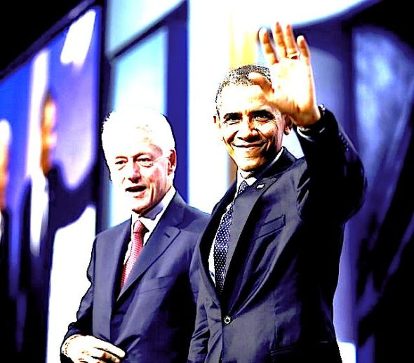 President Obama (right) waves to members of the audience after speaking at the Clinton Global Initiative with former President Bill Clinton in New York on Sept. 24, 2013. (Associated Press)Photo by: Pablo Martinez Monsivais