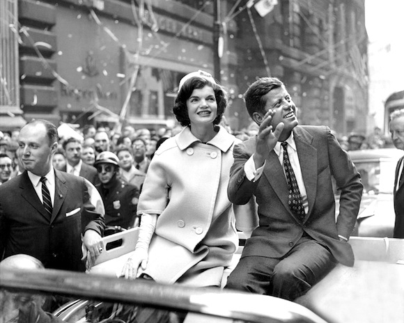 Democratic presidential nominee John F. Kennedy and his wife