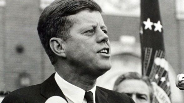 President John F. Kennedy delivers a speech at a rally in Fort Worth, Texas several hours before his assassination.REUTERS