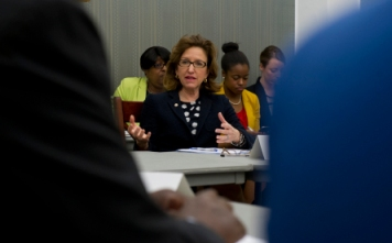 Sen. Kay Hagan, D-N.C. meets with chancellors and presidents from North Carolina's Historically Black Colleges and Universities for a summit in the U.S. Capitol on April 16, 2013. (Photo By Douglas Graham/CQ Roll Call)