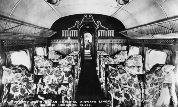 circa 1935:  A view of the forward passenger cabin of an Imperial Airways Handley Page HP42E Heracles airliner, as normally used on the Paris to London route, total accommodation was for 38 passengers.  (Photo by Hulton Archive/Getty Images)