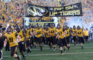 The Missouri Tigers take to the field for a game against the Georgia Bulldogs at Faurot Field in Columbia, Missouri on September 8, 2012. This game marks the first for Missouri as a member of the SEC Conference. UPI/Bill Greenblatt