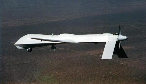 "Unmanned Aerial Vehicle (UAV) is shown in this undated handout photo from the aircraft's manufacturer, General Atomics. General Atomics explains that the previous ""RQ"" designation for this vehicle has recently been changed to ""MQ"" to reflect the aircrafts multi-functional capabilities. The new designation moves the Predator from a strictly reconnaissance role, to an ability to carry and fire weapons such as the ""Hellfire"" missile. (Photo by General Atomics/Getty Images)"