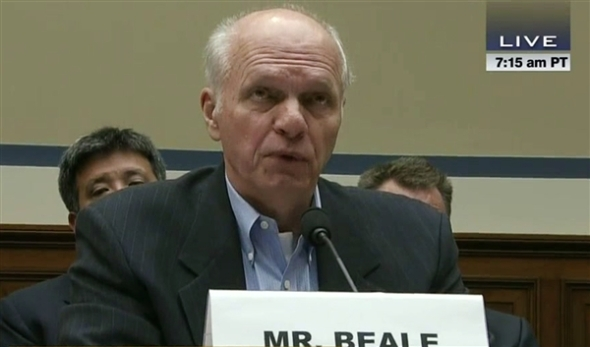 Former high-ranking Environmental Protection Agency (EPA) official John Beale testifies before the House Oversight Committee on Oct. 1, 2013.