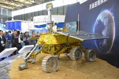 This file photo shows a model of a lunar rover 'Jade Rabbit', seen on display at the China International Industry Fair in Shanghai, on November 5, 2013