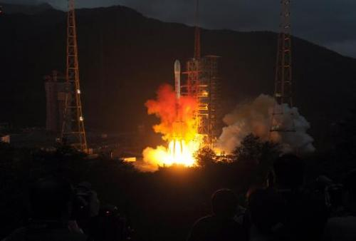 This file photo shows a rocket being blasted off from the launch centre in Xichang, China's southwestern province of Sichuan, on October 1, 2010