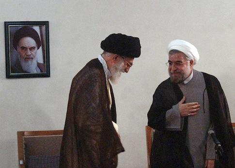 Supreme Leader Ayatollah Ali Khamenei meets with President Hassan Rouhani / AP