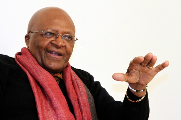 South African Archbishop and Nobel Laureate Desmond Tutu speaks during an interview in New Delhi, Feb. 8, 2012. B Mathur / Reuters