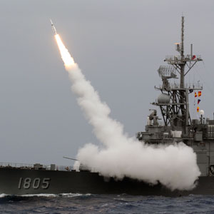 A Taiwan navy Kidd-class destroyer launches a SM-2 surface to air missile during a livefire drill at sea near the east coast of Taiwan on September 26, 2013. Sam Yeh/AFP/Getty Images