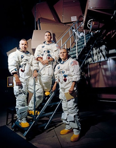 Photo: Crew of Apollo 8. From left to right: James A. Lovell Jr., William A. Anders, and Frank Borman. Photo by NASA.