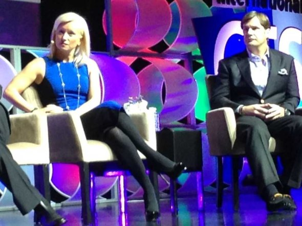 Jim Farley, at right, on a panel with Facebook exec Carolyn Everson at CES today.