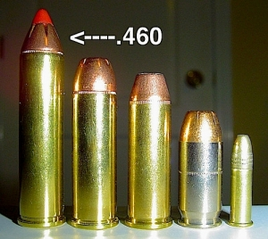 What does the S&W's ammunition size look like? FYI, this is a .460 caliber bullet