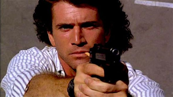 "Actor Mel Gibson in his role as Beretta-toting LAPD Detective Martin Riggs in the ""Lethal Weapon"" series."