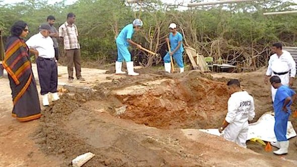 The grave was discovered by construction workers laying a water pipe