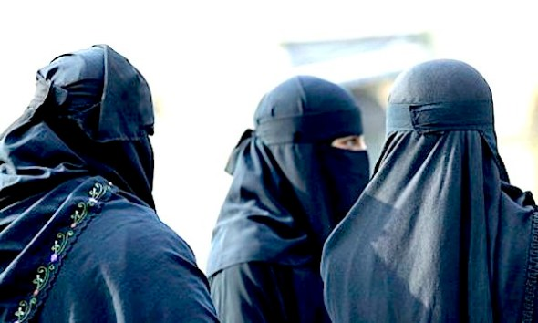 Muslim women in niqab face veils as worn by Rebekah Dawson, who has been told she can wear the veil in court but must remove it to give evidence. Photograph: Don Mcphee for the Guardian