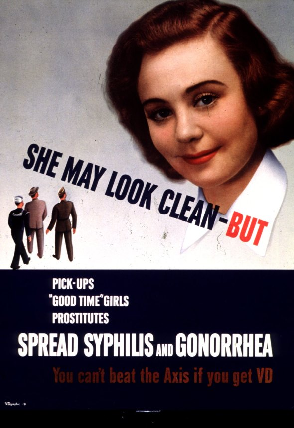 US Government WWII anti-VD poster believed to date from 1942-1945. This poster is now in the public domain. Posters like this one warning against VD were once commonplace.