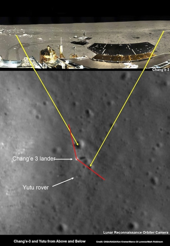 This image shows terrain matched in an image from the Chang'e 3 lander and an image from NASA's Lunar Reconnaissance Orbiter. See a larger version. Credit: CNSA/NASA/Ken Kremer/Marco Di Lorenzo/Mark Robinson