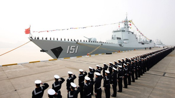 The launch of a Chinese guided missile destroyer in Zhejiang last year