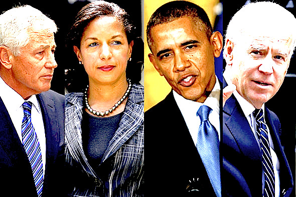 The president, flanked by his foreign-policy team: Chuck Hagel, Susan Rice, and Joe Biden. From L to R: AFP/Getty Images; Bloomberg (2); Getty Images (2)